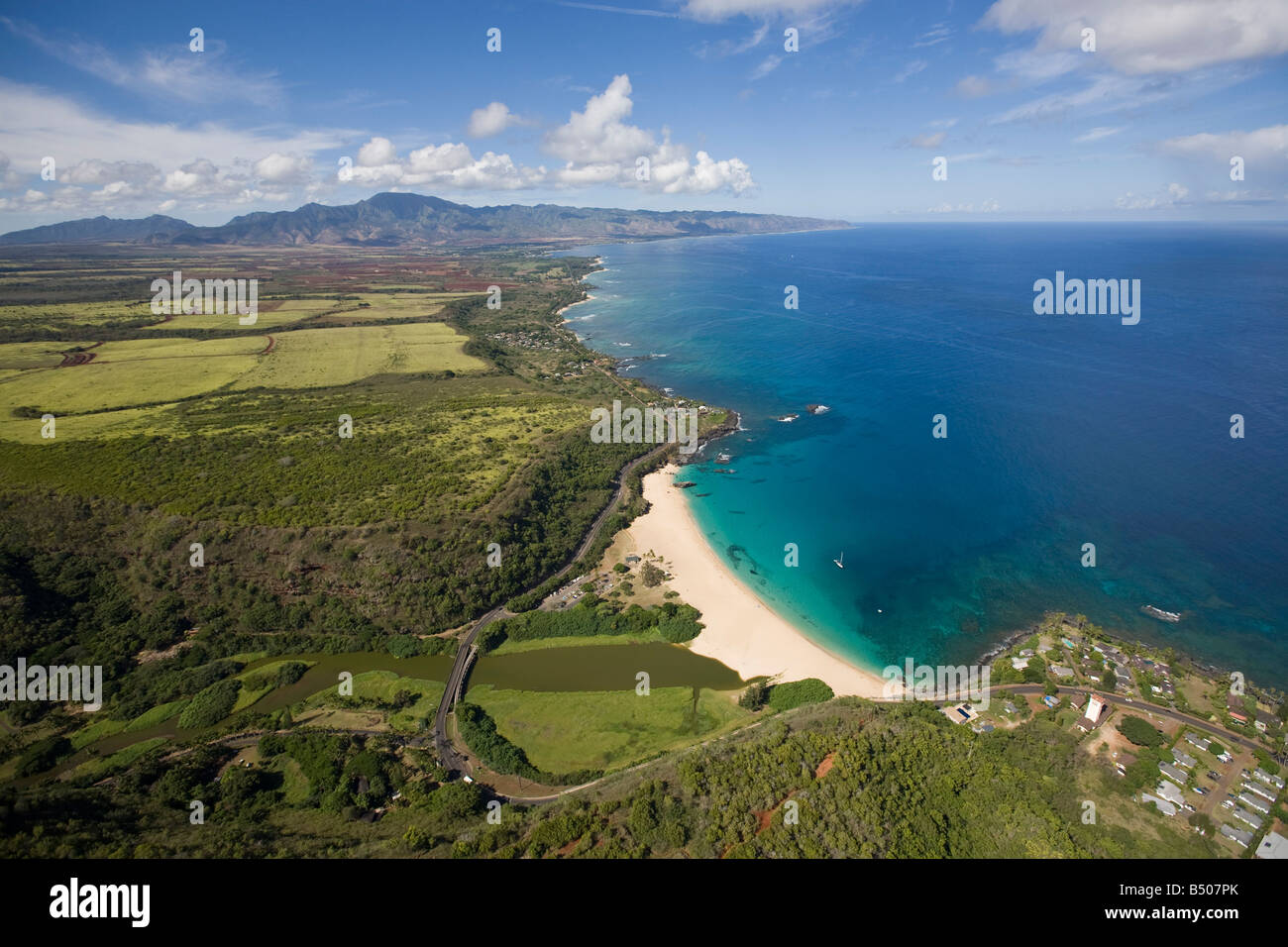 Waimea Bay North Shore Oahu Hawaii - Stock Image