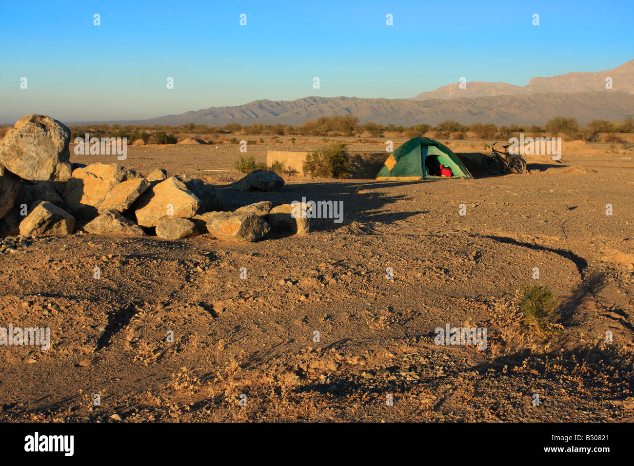 Wild camping in the Andes San Juan province Argentina - Stock Image