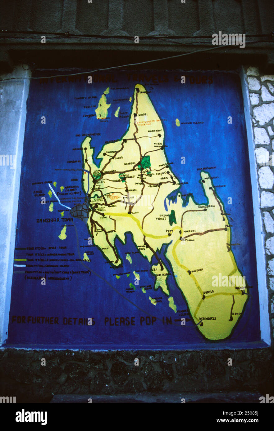 A map in the heart of Stone Town showing the main island of Zanzibar Unguja - Stock Image