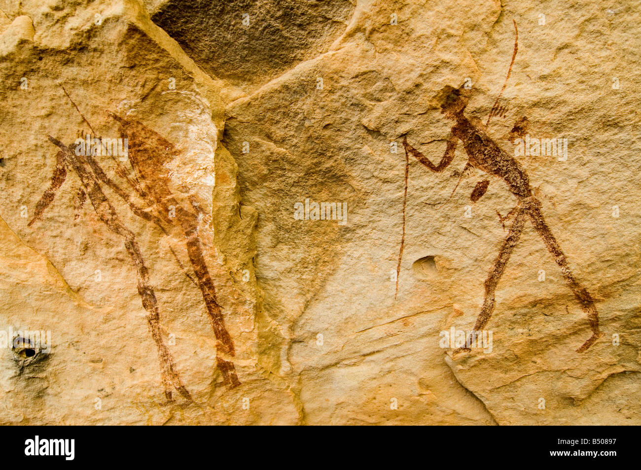Bushman, Mural painting, Ladybrand, Free State, South Africa - Stock Image