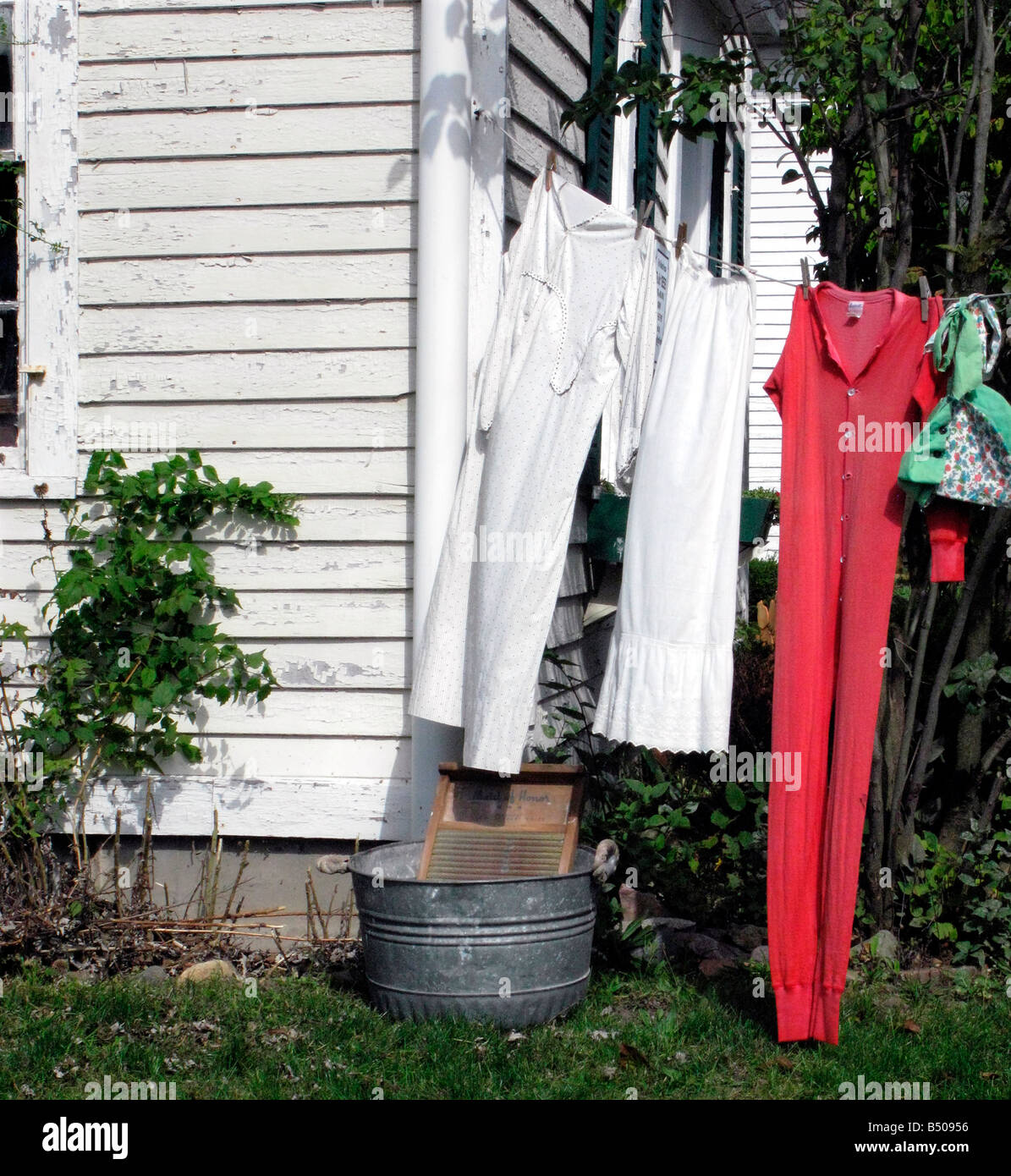 Laundry Drying On A Line Outdoors Stock Photo 20290850 Alamy