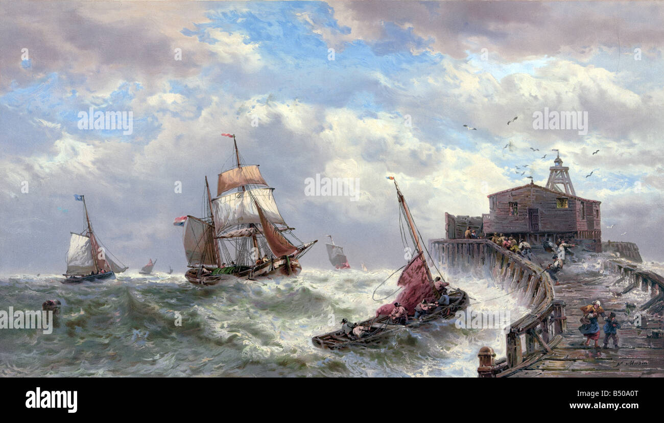 Calais Pier in a storm with french Sailingships 1879 Stock Photo