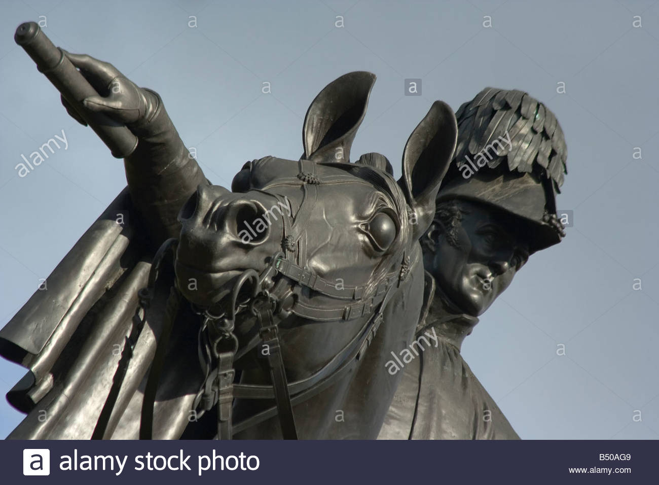 Statue of 1st Duke of Wellington Arthur Wellesley and his horse Copenhagen on Round Hill Aldershot England - Stock Image