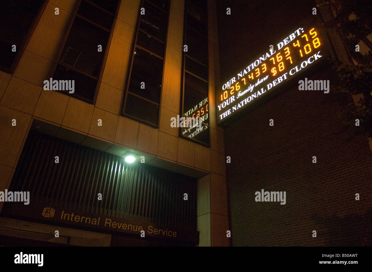 The National Debt Clock in New York - Stock Image