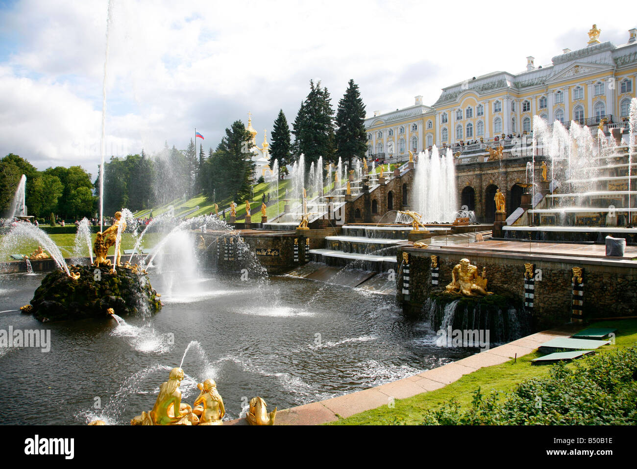 Aug 2008 - The Grand Cascade at Peterhof Palace, St Petersburg Russia Stock Photo