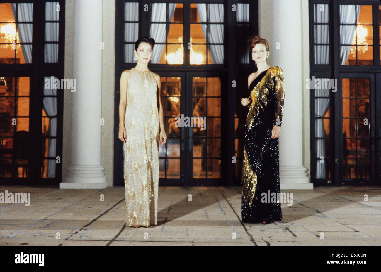 Women dressed for gala affair,wearing formal evening gowns, Plam Beach Florida - Stock Image