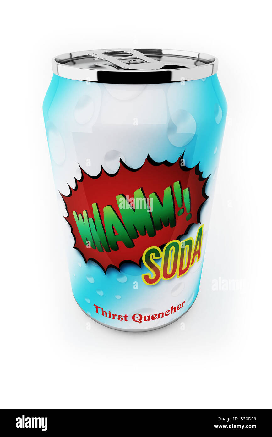 Fictional soda can up close over white background - Stock Image