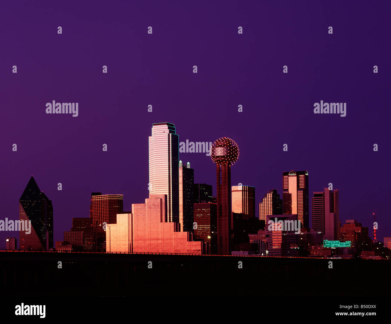Dallas Texas skyline from West at Dusk - Stock Image