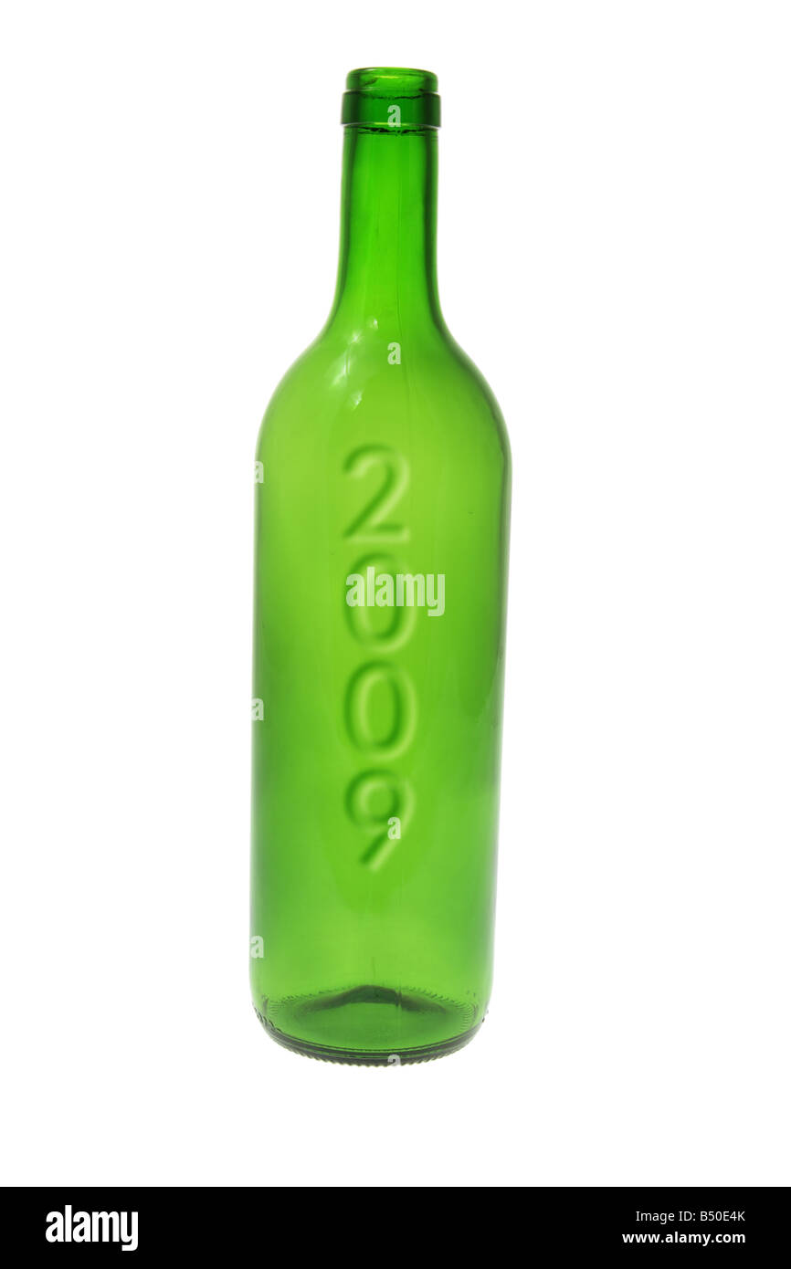 Green Glass Bottle with 2009 Stock Photo