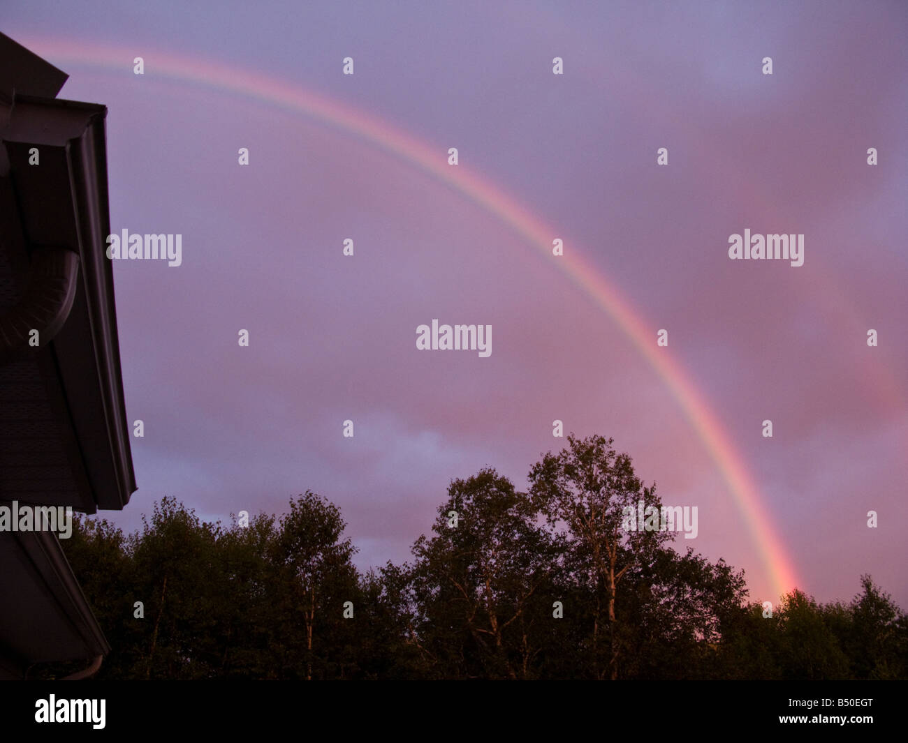 Sunset with a dark magenta sky and deep full rainbow over trees in New Brunswick Canada - Stock Image