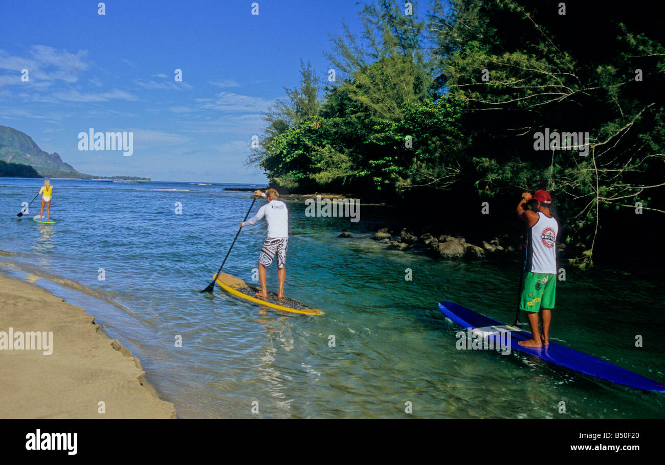 Paddle Boarders Go From Mouth Of Hanalei River Into