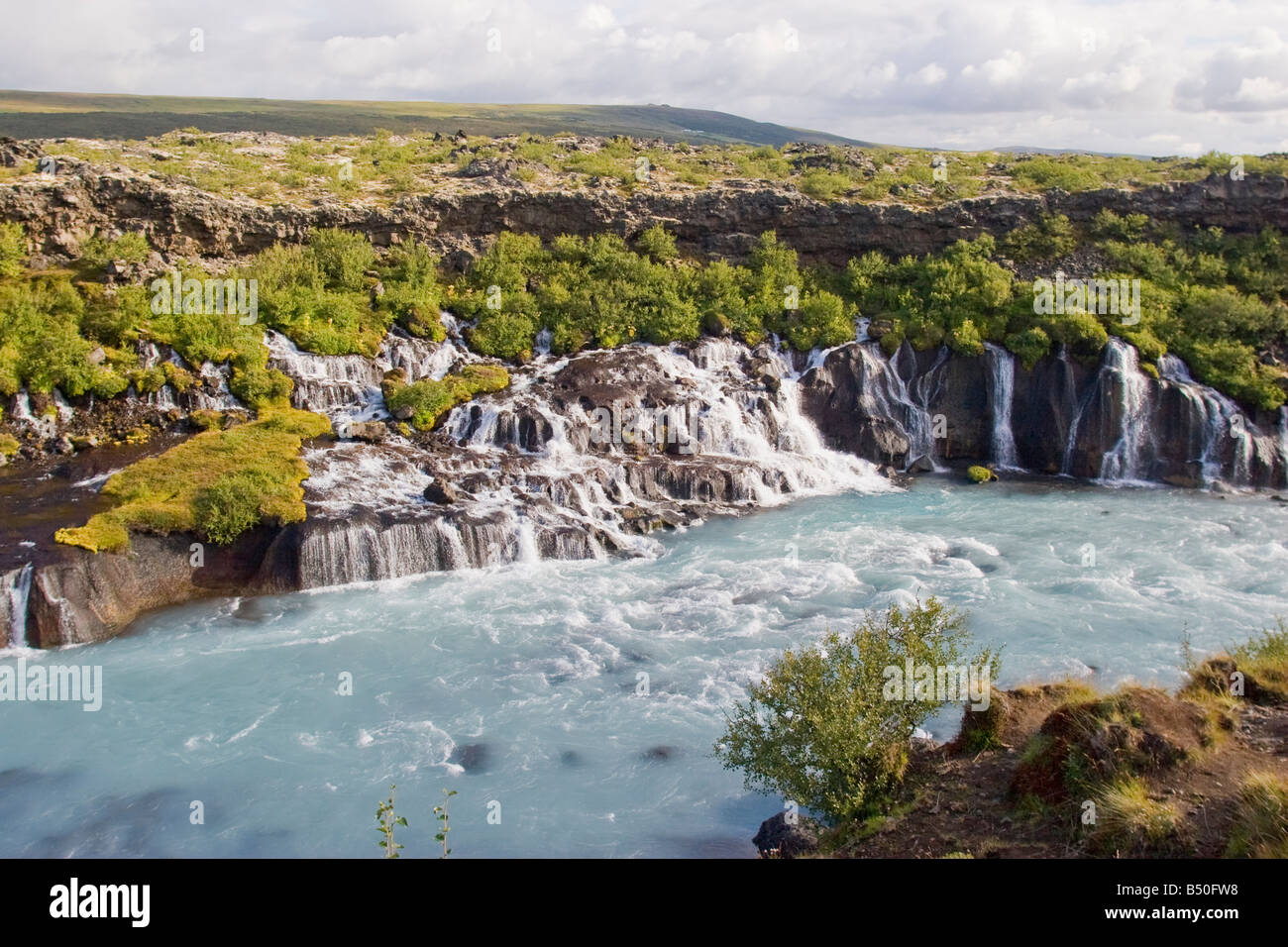 Wild water at Hraunfossar, Iceland - Stock Image