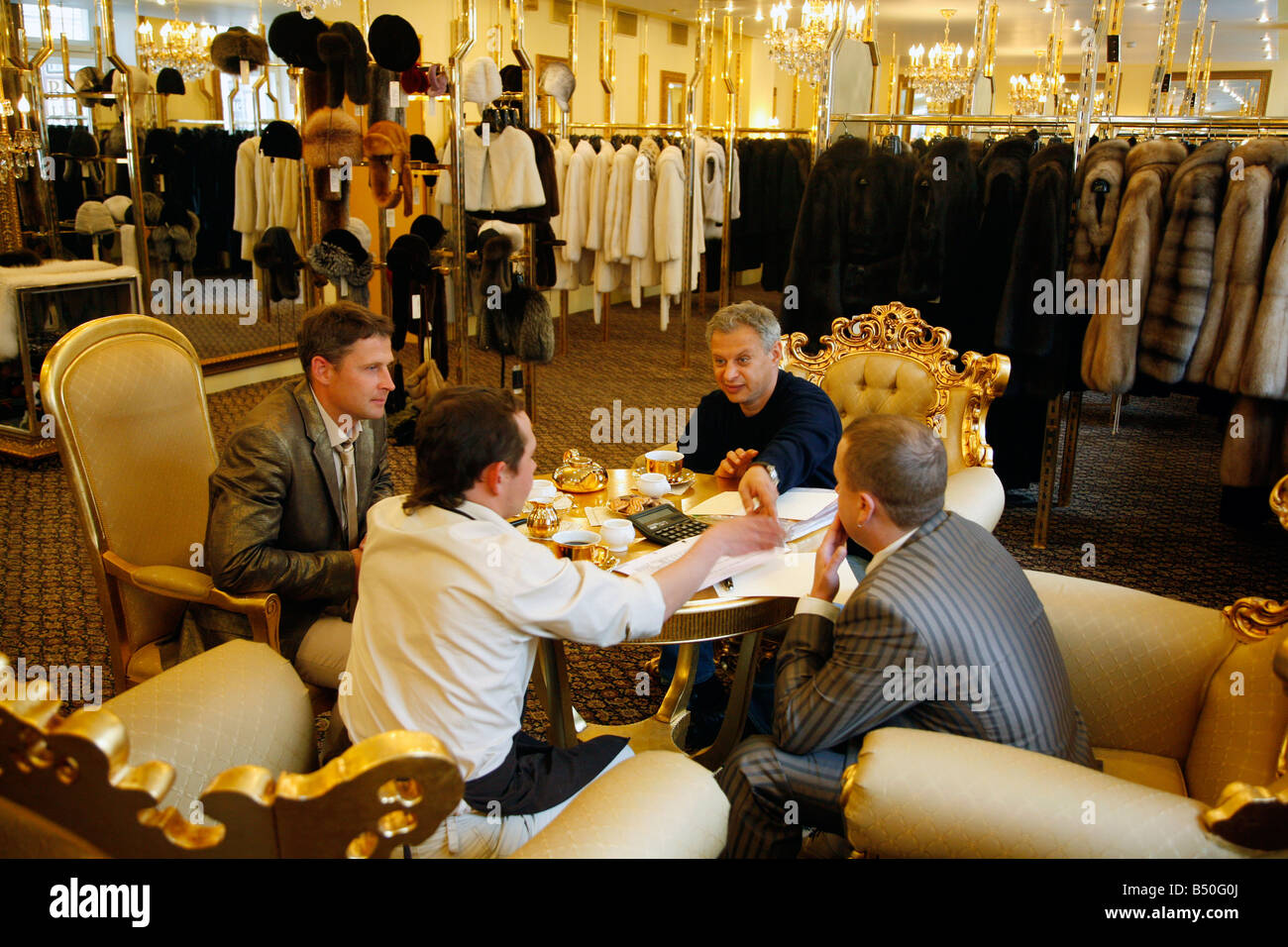Aug 2008 - Business meeting at the exclusive Lena boutique which sells sable fur coat St Petersburg Russia - Stock Image