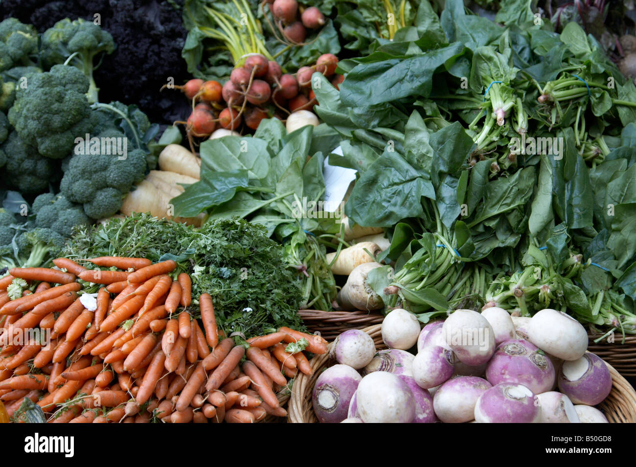 Vegetables on display at Borough Market, London - Stock Image