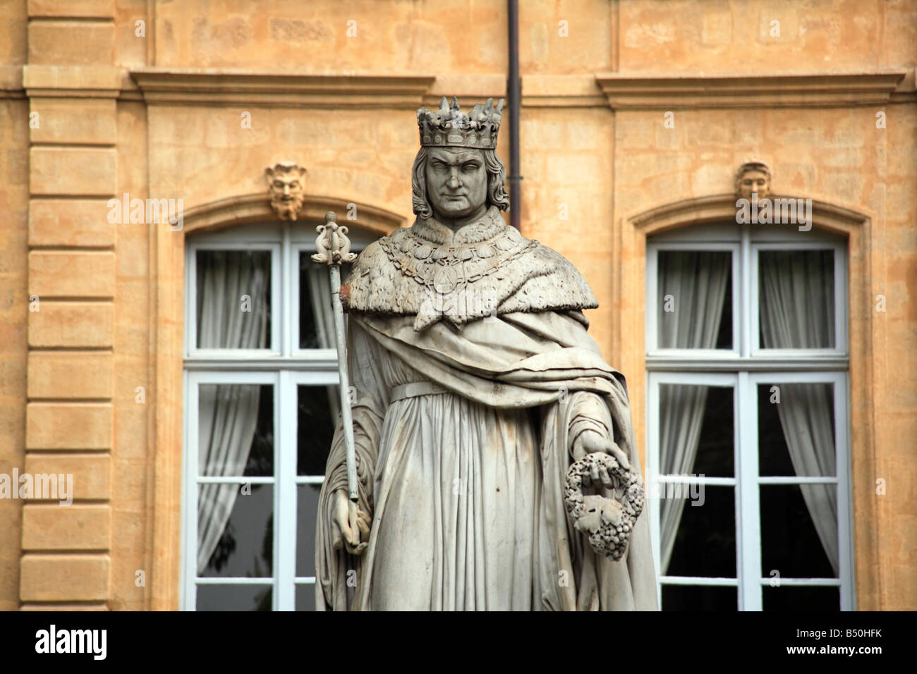 Statue of the king rene cours mirabeau, aix en provence, france - Stock Image