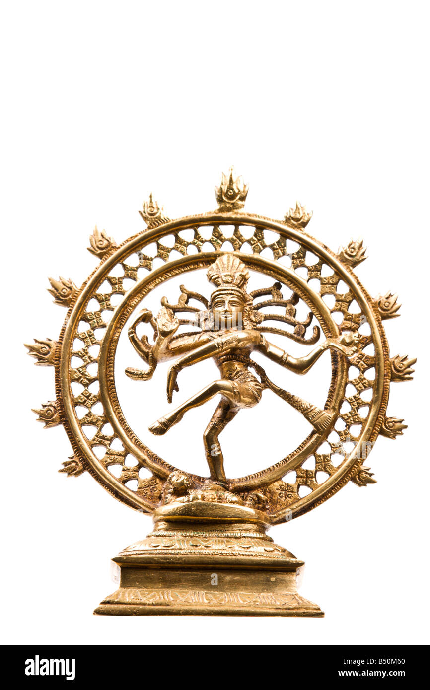 Statue of indian hindu god Shiva Nataraja Lord of Dance isolated on white - Stock Image