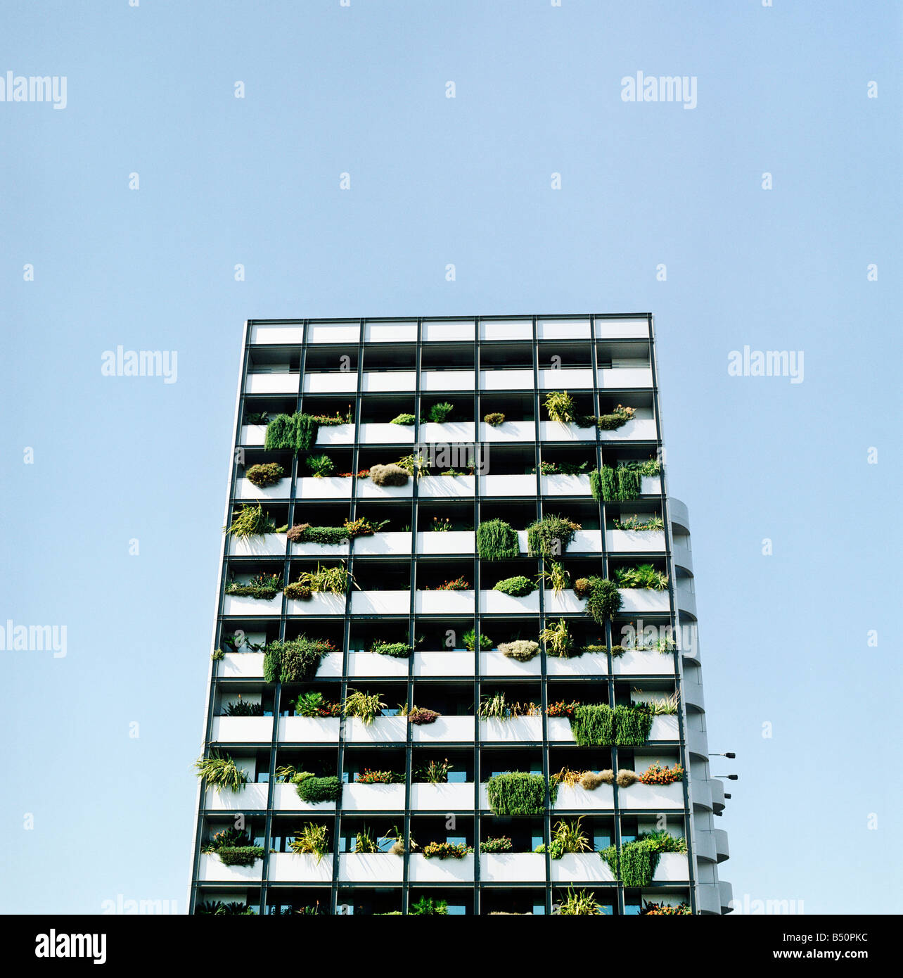 Low angle view of an apartment building Portugal - Stock Image