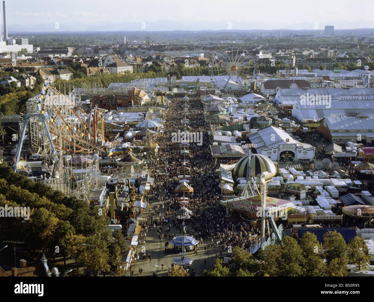 geography / travel, Germany, Bavaria, Munich, Oktoberfest, overview, view from 'Paulskirche' to Oktoberfest - Stock Image