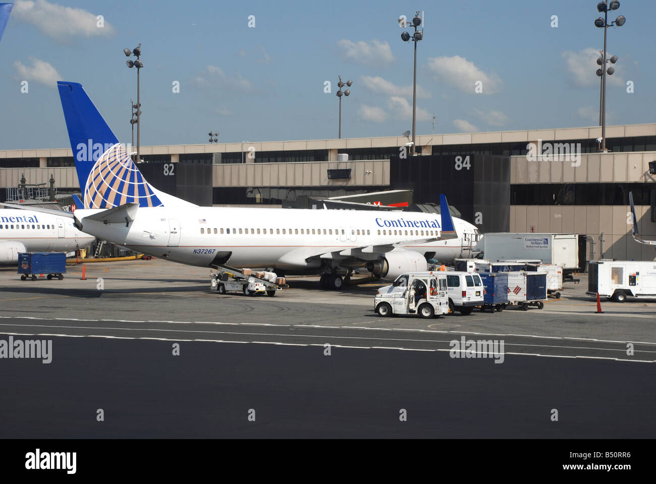 Continental Airlines planes on a stand at Newark Liberty Airport New York - Stock Image