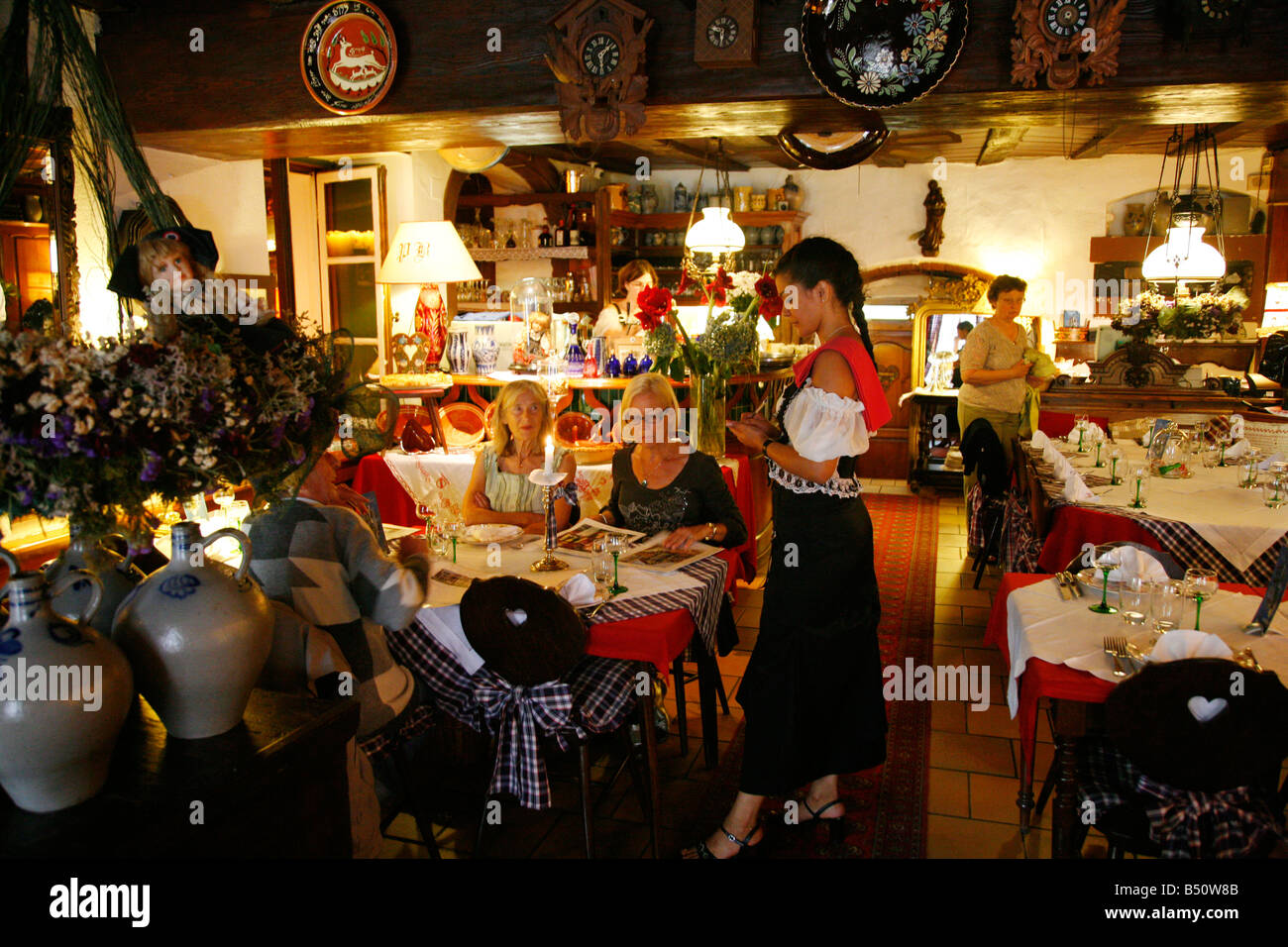 Sep 2008 People sitting at the Taverne Katz restaurant in Saverne Alsace France Stock Photo