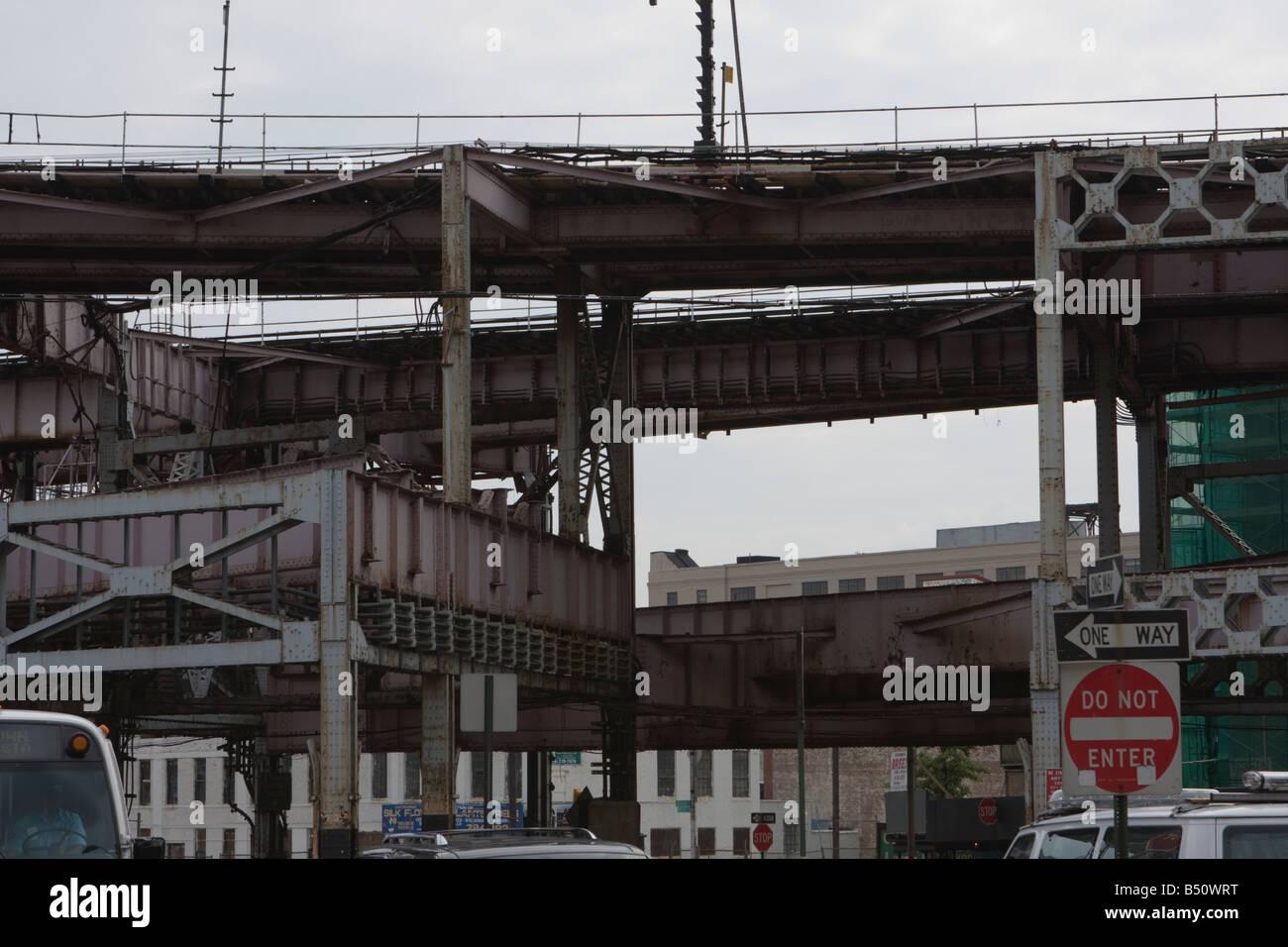 Queens plaza highway mess - Stock Image