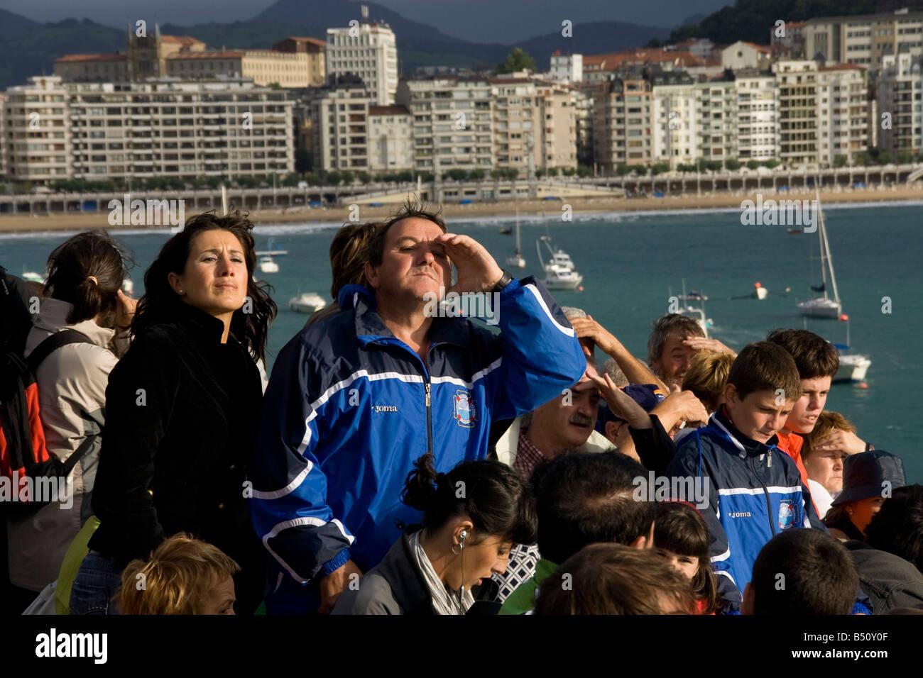 Rowing fans in San Sebastian Stock Photo