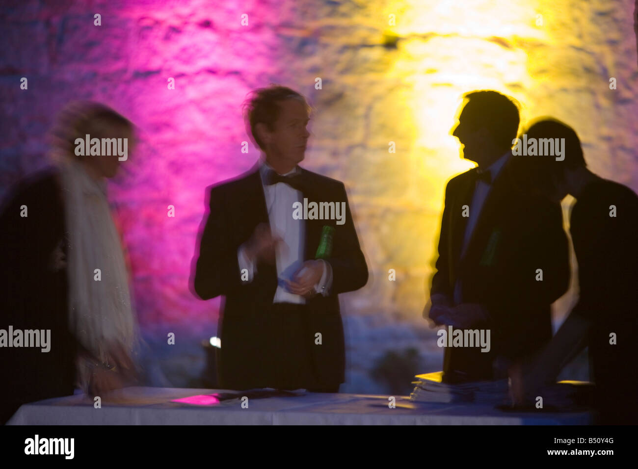 A black tie event at Narworth Castle in Cumbria UK - Stock Image