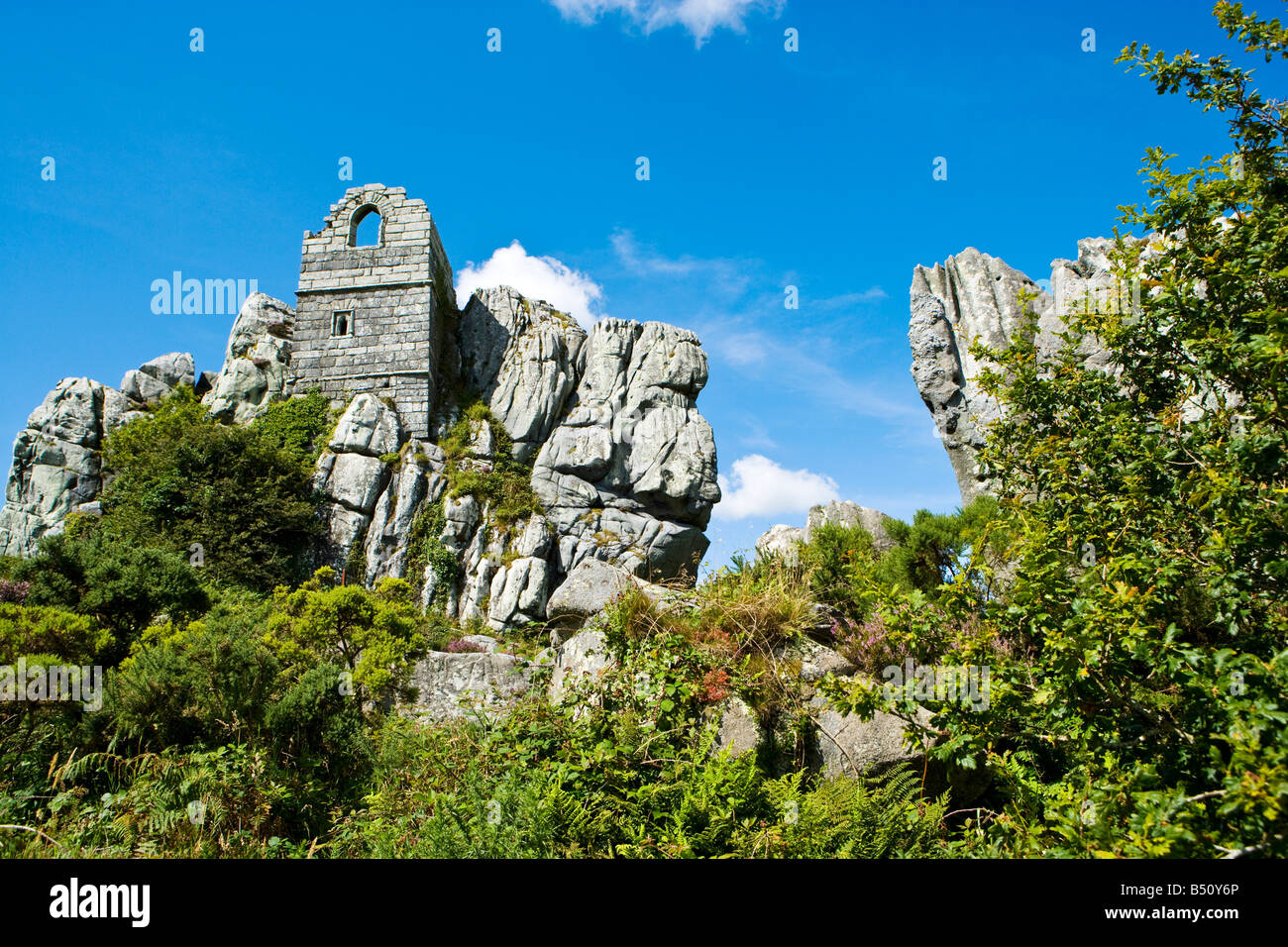 Roche Rock Cornwall. The ruins of an ancient chapel stronghold - Stock Image