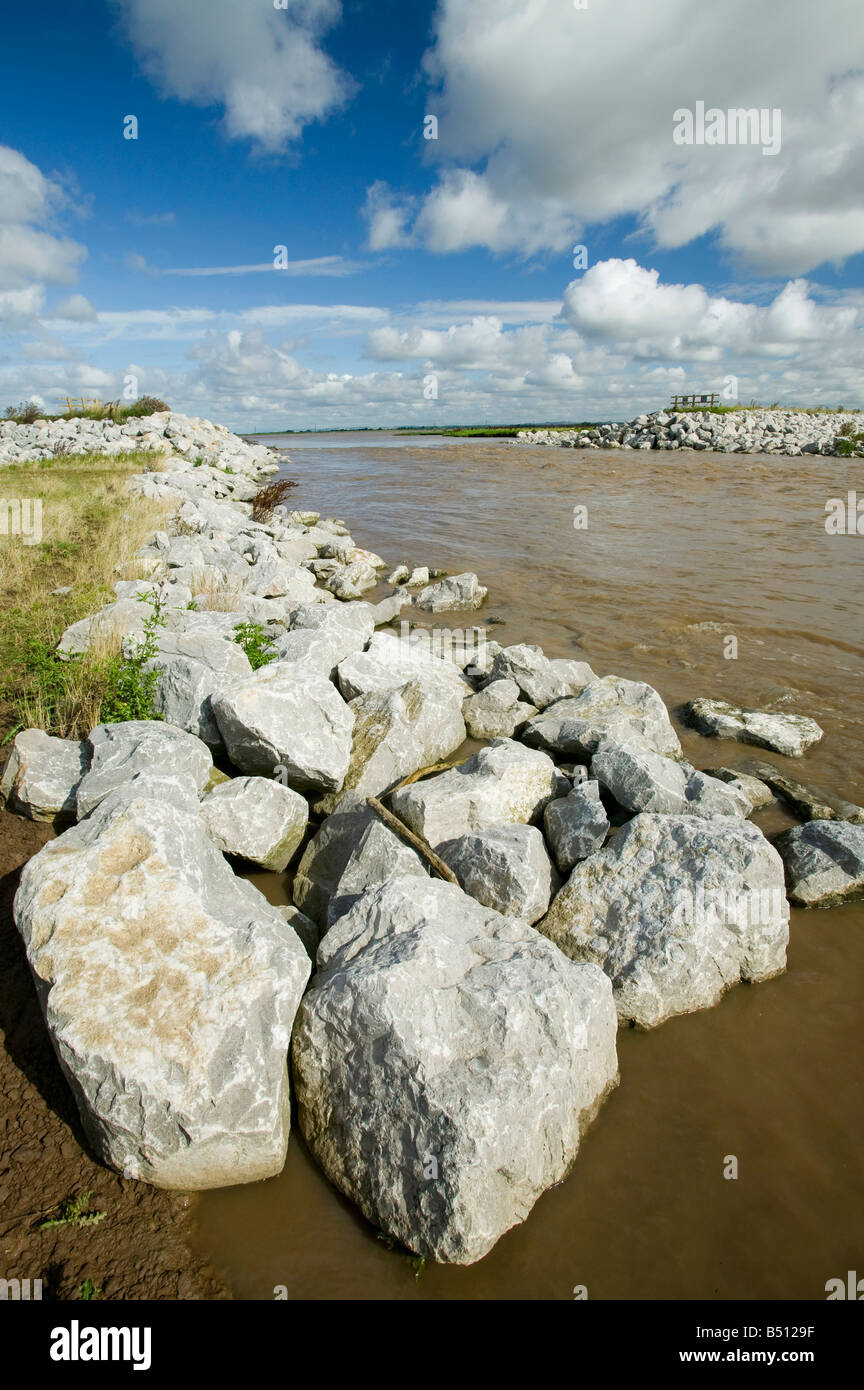 Managed retreat at Alkborough on the Humber estuary the largest managed retreat project in Europe - Stock Image