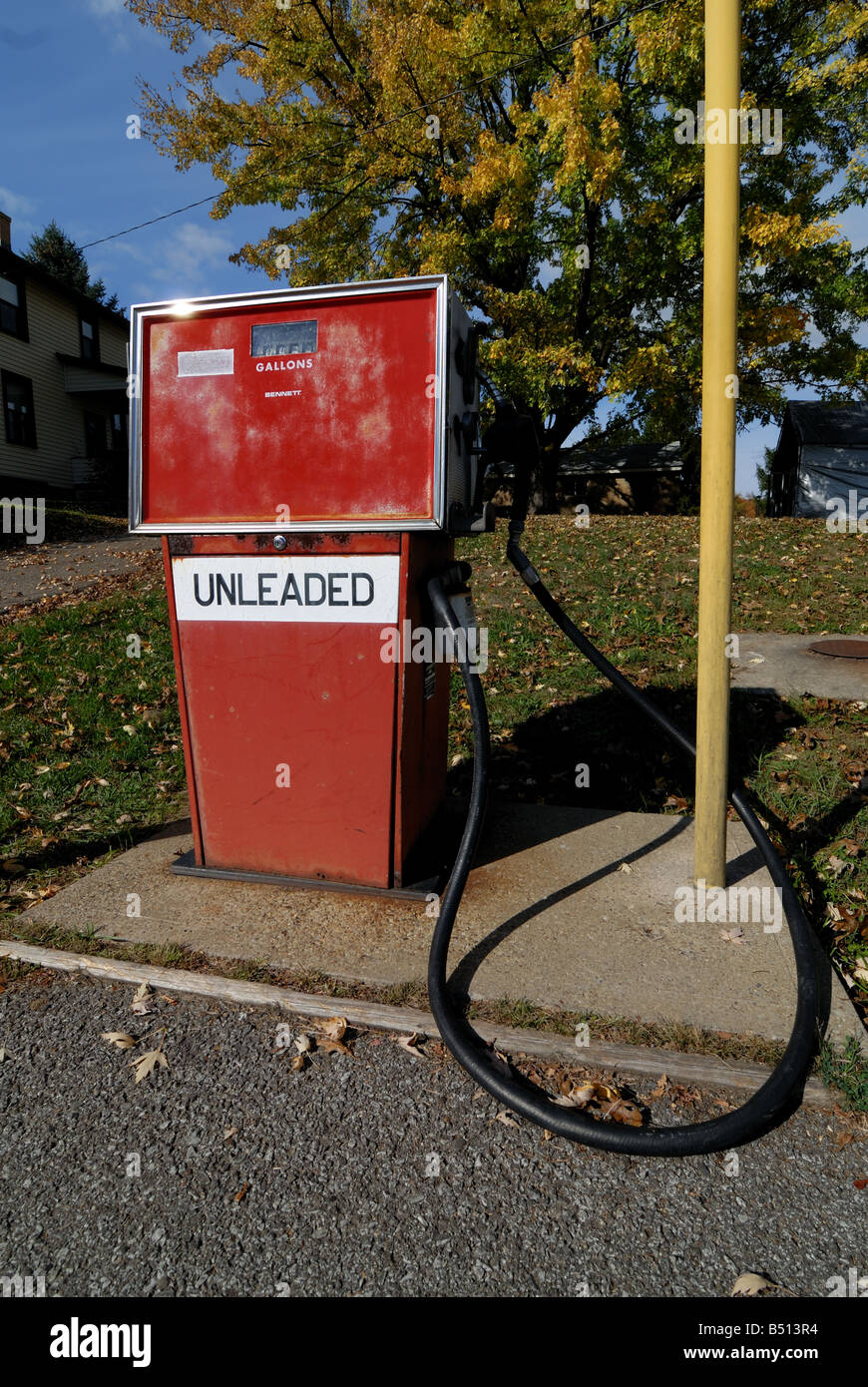 An old style gasoline pump for unleaded fueld - Stock Image