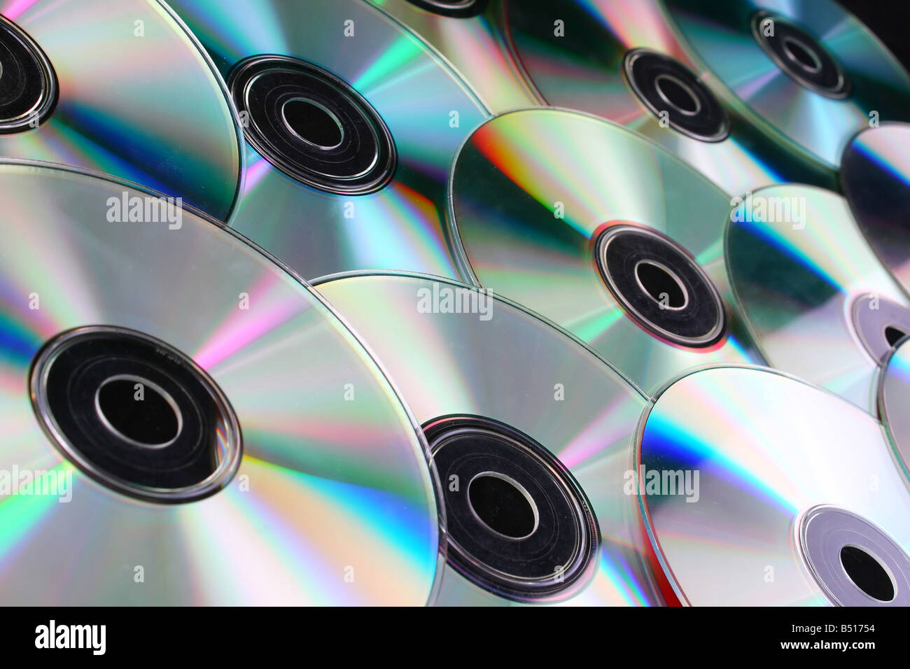 cd dvd discs over black background computers Stock Photo