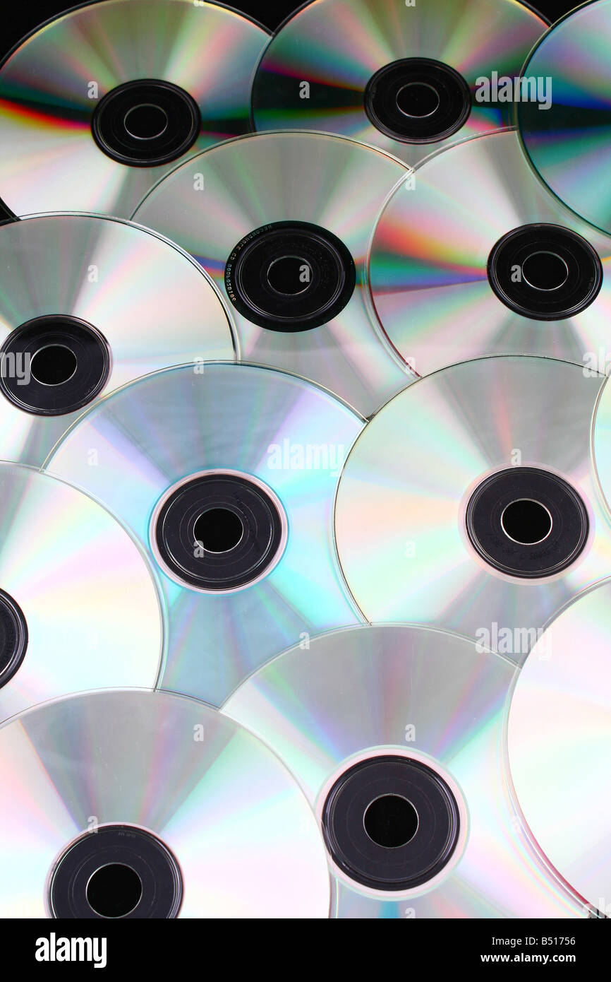 cd dvd discs over black background computers - Stock Image