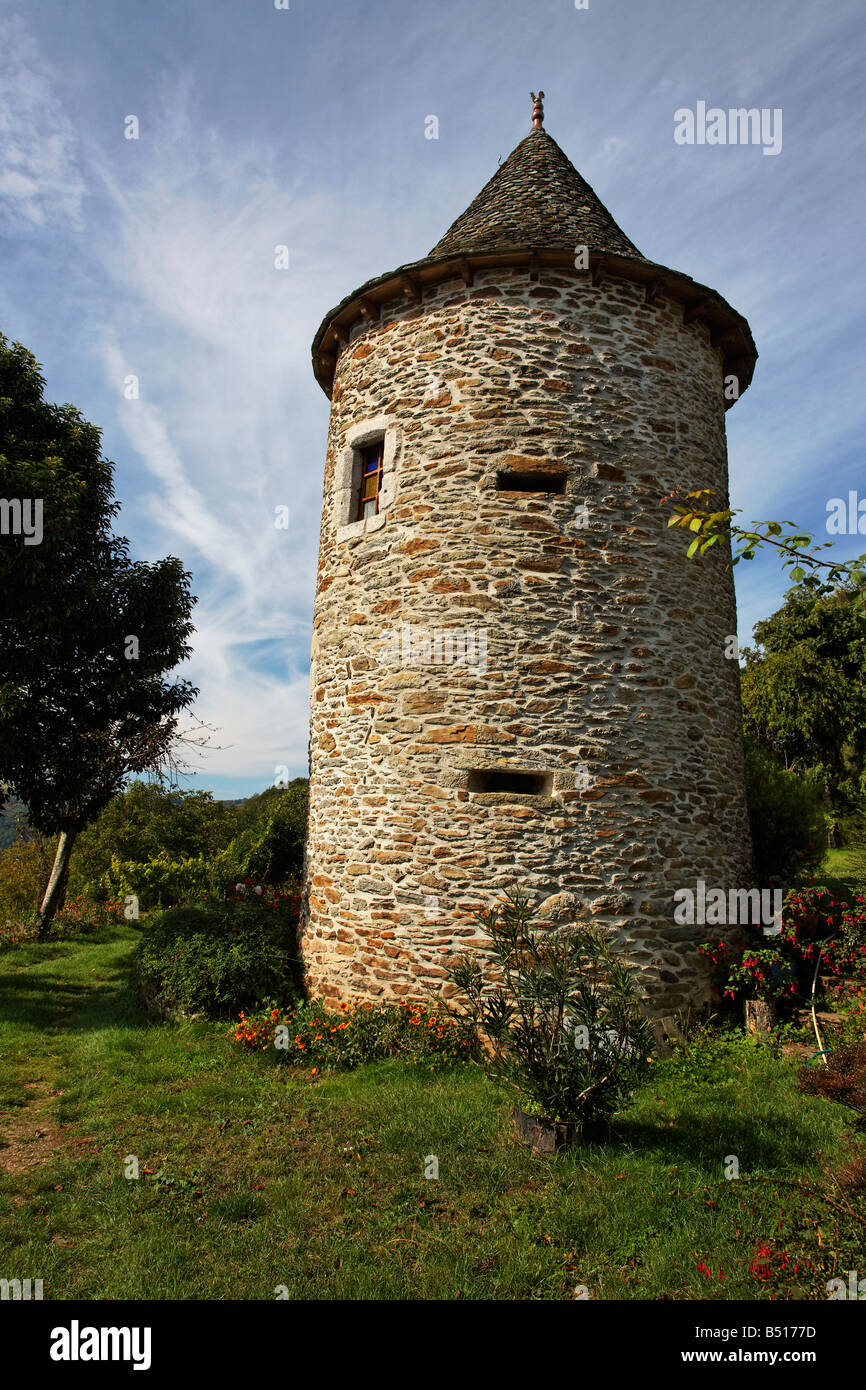 An old stone tower at Le Fel, France - Stock Image
