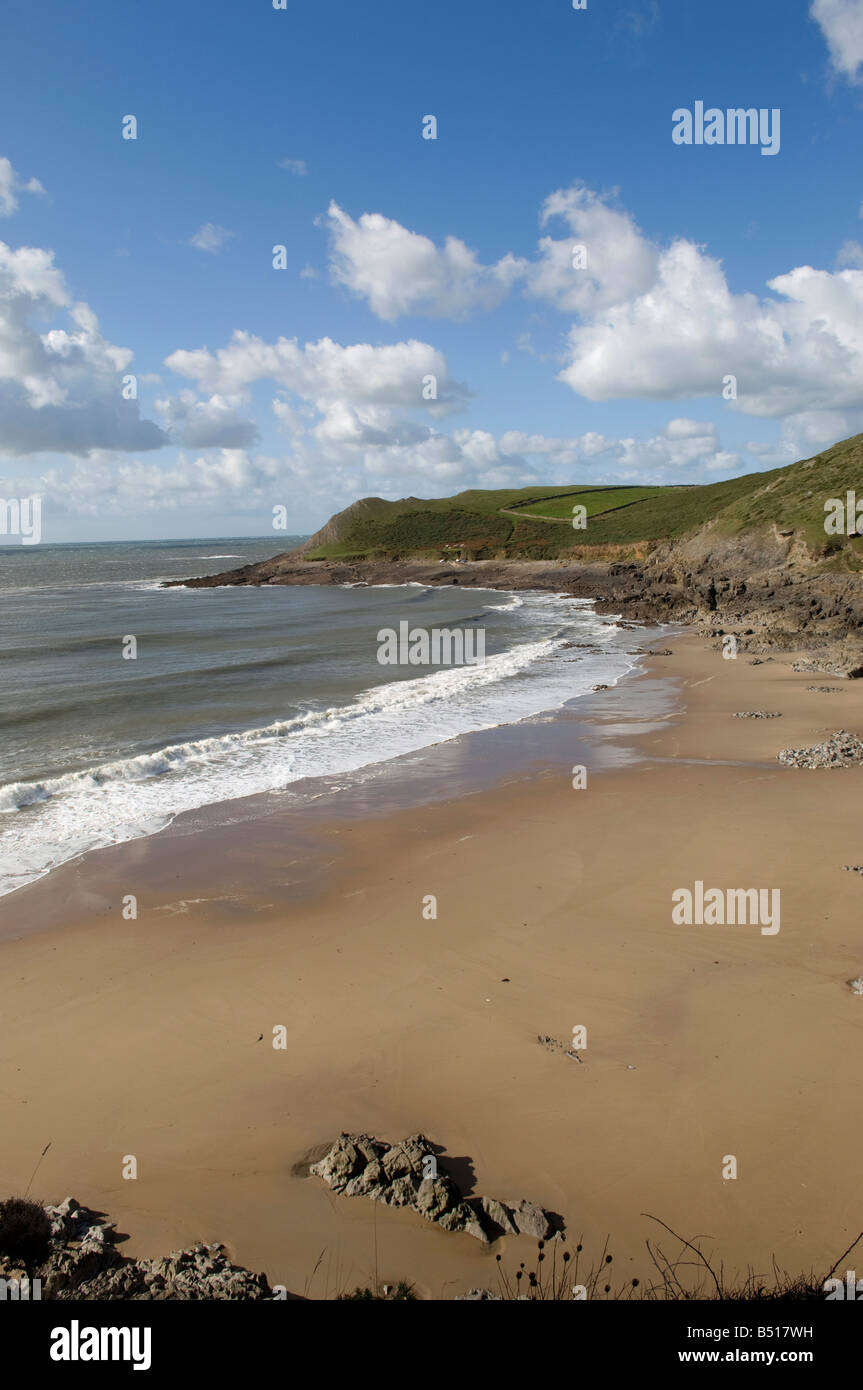 Mewslade Bay Gower West Glamorgan South Wales - Stock Image