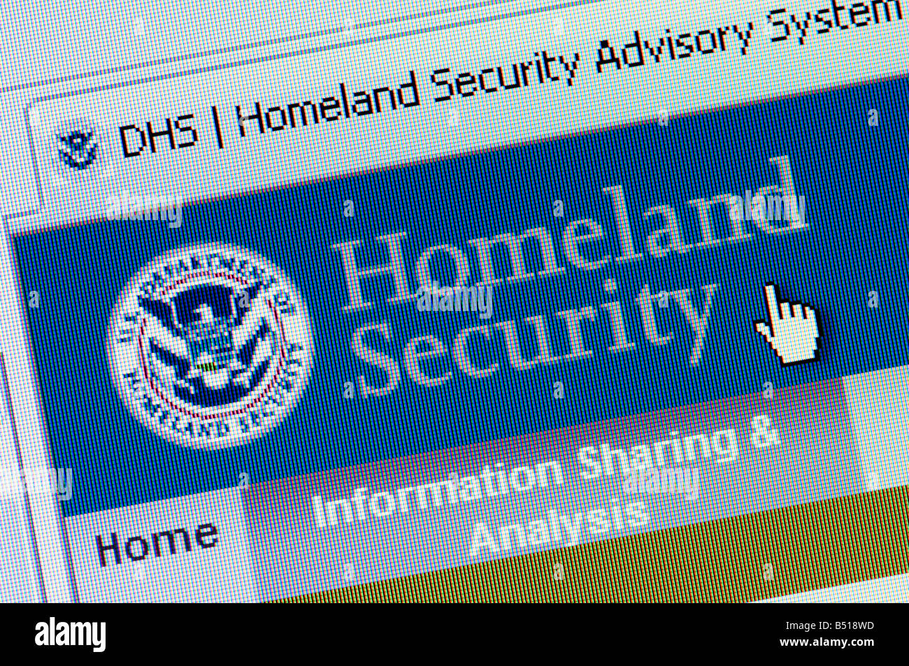 Macro screenshot of Department of Homeland Security website Editorial use only Stock Photo