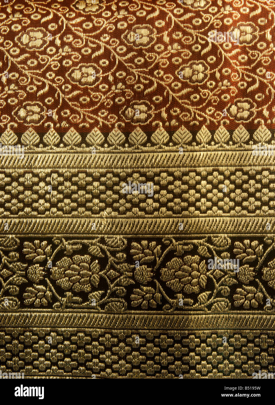 Indian Crafts Embroidery In Gold Thread On Hand Woven Silk