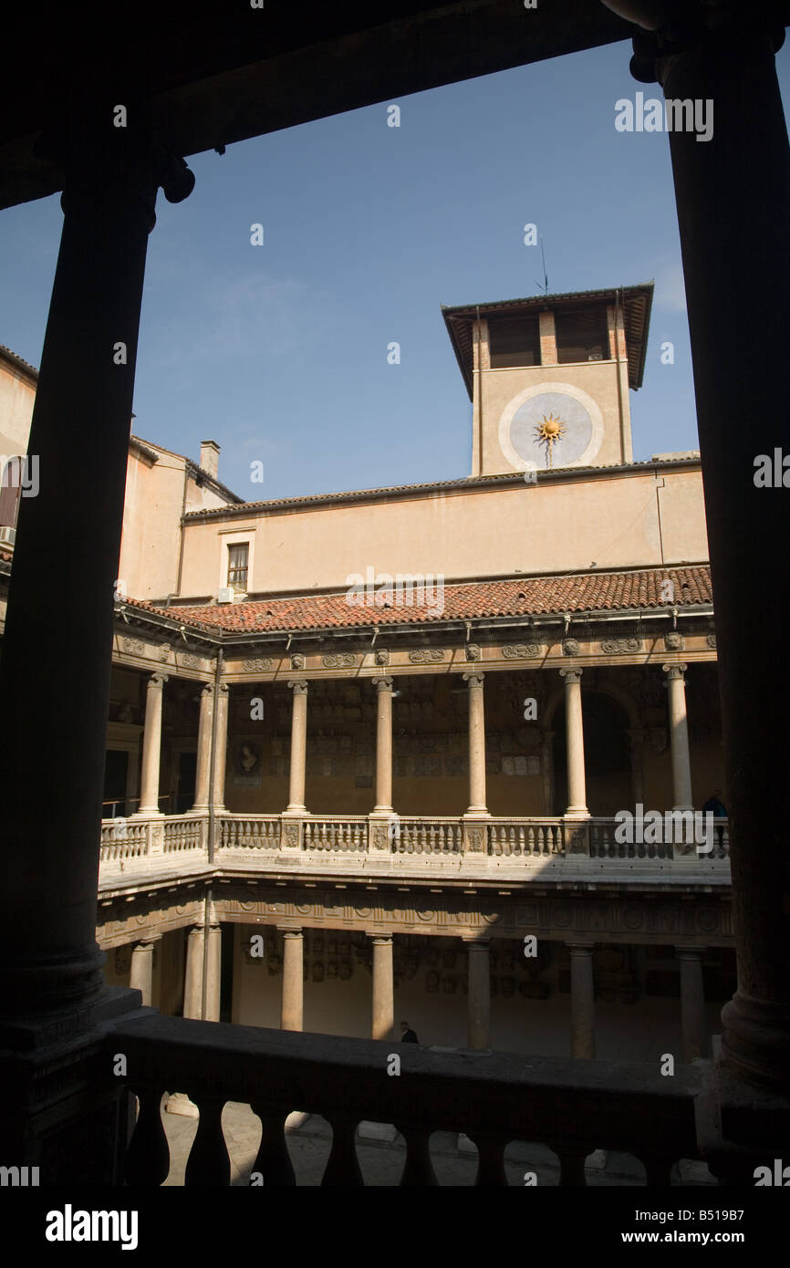 The university courtyard in Padua, North Italy.  University established in September 1221 - Stock Image