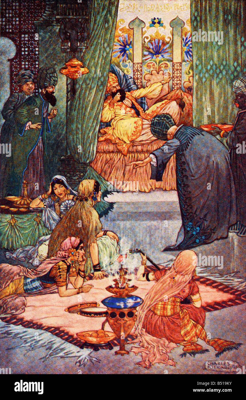 Abou Hassan or The Sleeper Awakened Illustration by Charles Folkard from the book The Arabian Nights published 1917 - Stock Image