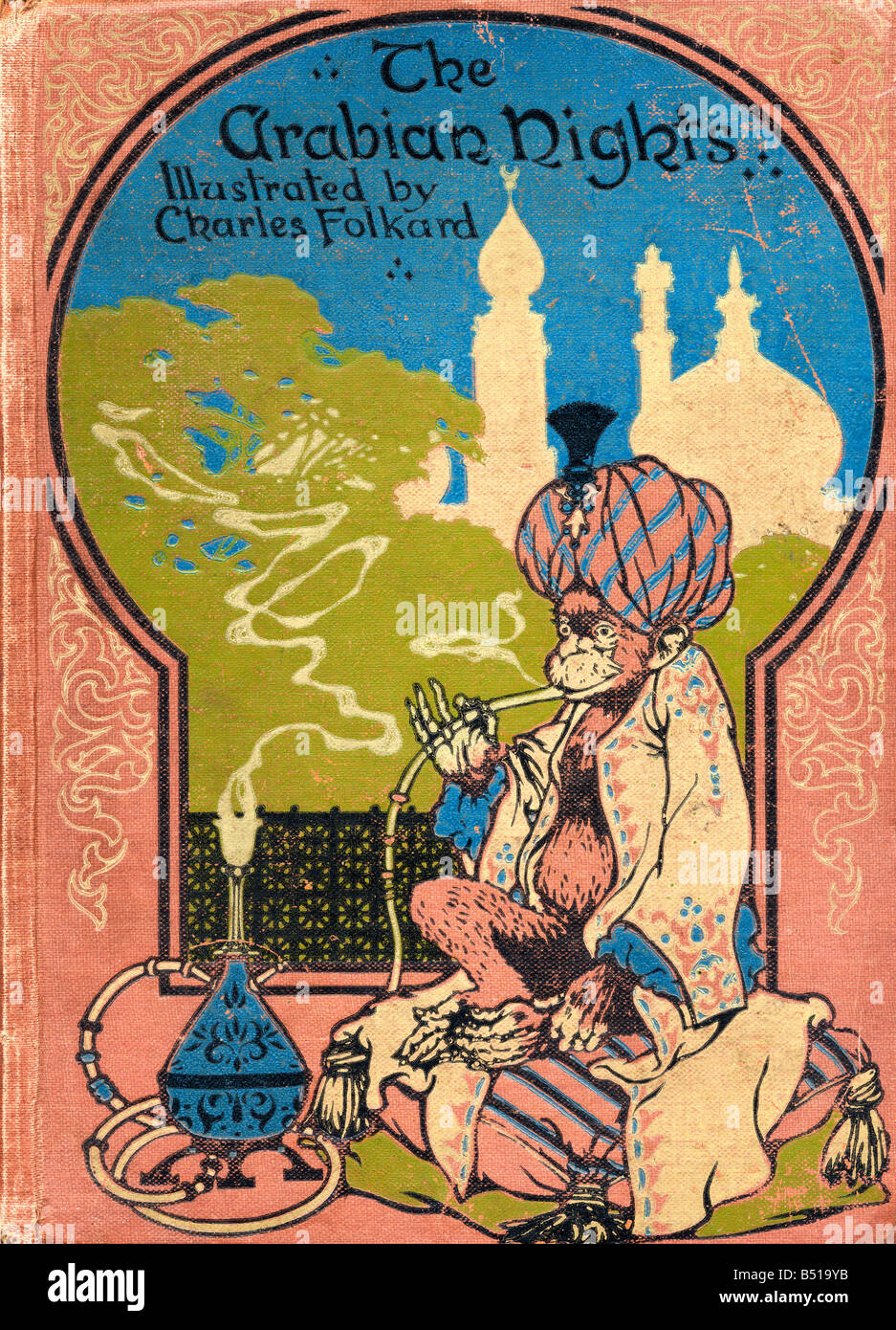 Front cover illustration by Charles Folkard from the book The Arabian Nights published 1917 - Stock Image
