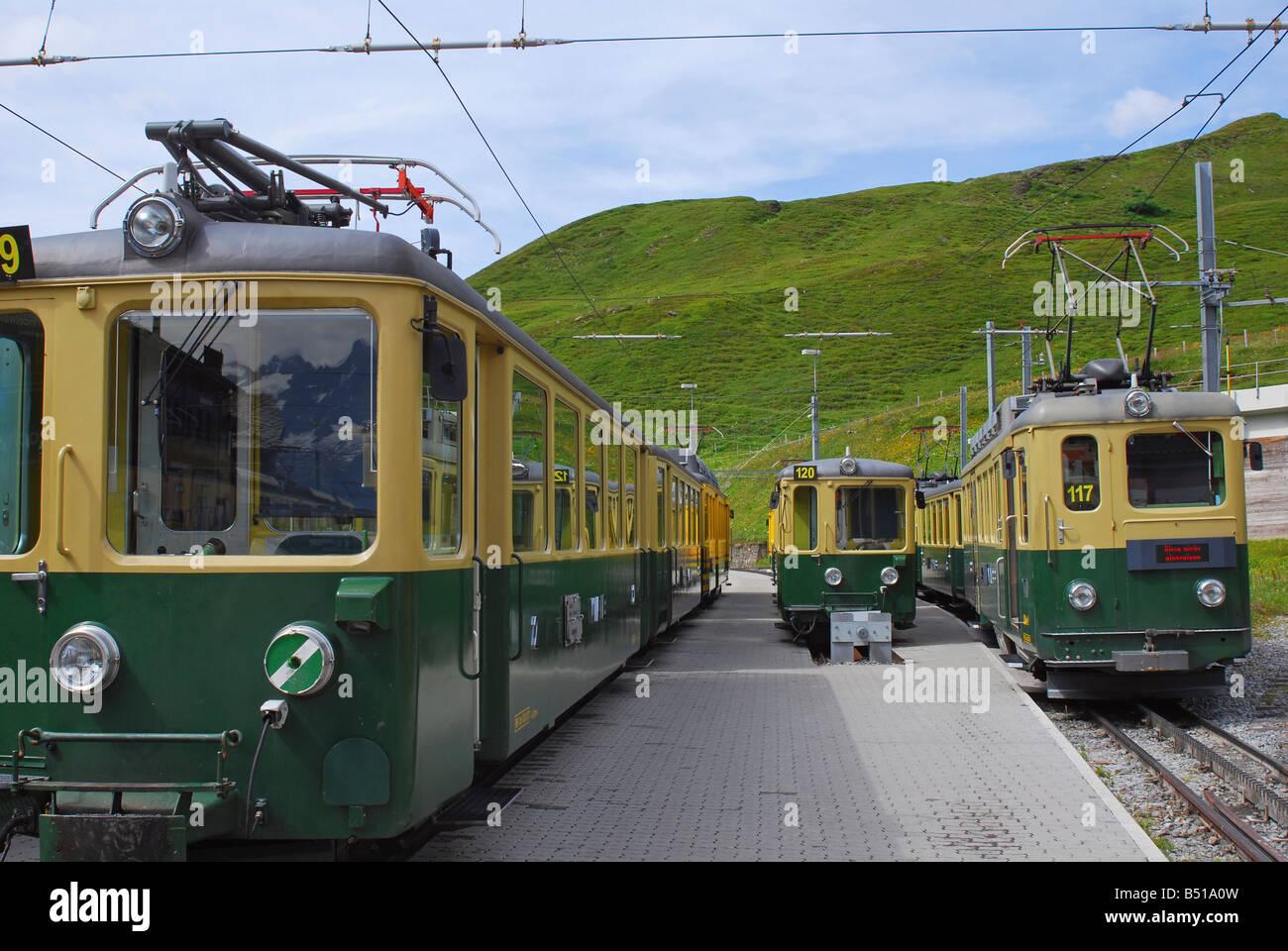Jungfrau Cog Railway Trains in Kleine Scheidegg Switzerland - Stock Image