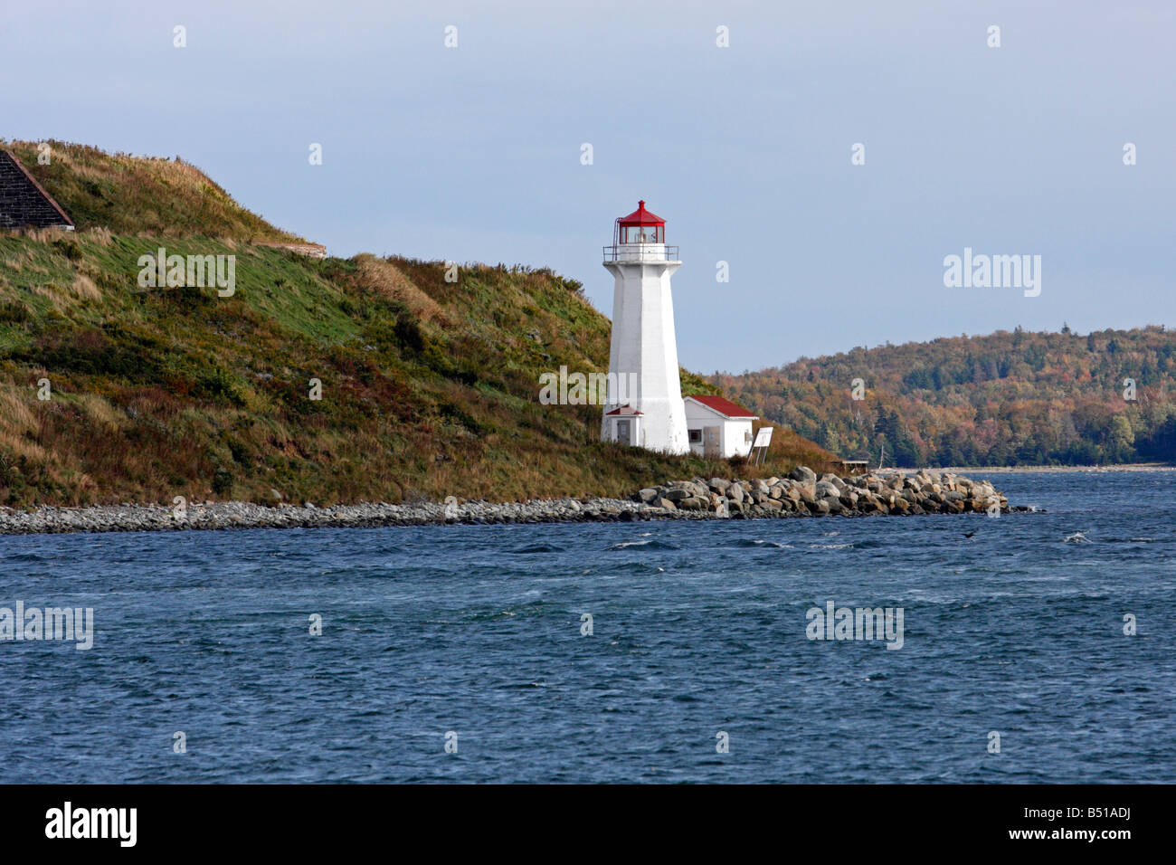 Georges Island Lighthouse on Georges Island in Halifax, Nova Scotia BHZ - Stock Image