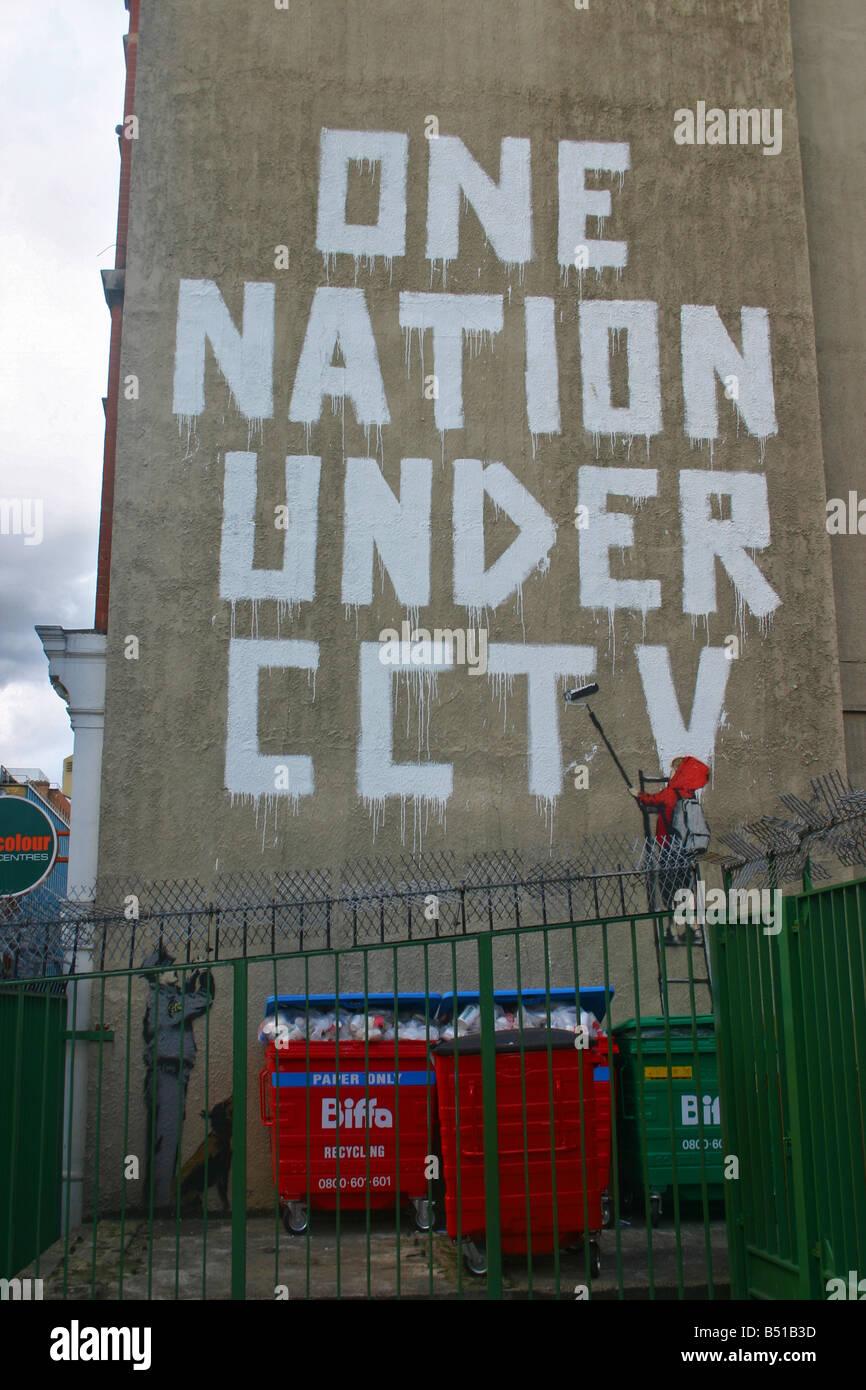 Banksy: One Nation Under CCTV newman street london Stock Photo