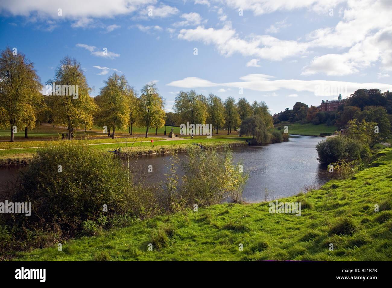 Shrewsbury School overlooking the River Severn and the Quarry Park in Shrewsbury Shropshire England UK United Kingdom - Stock Image