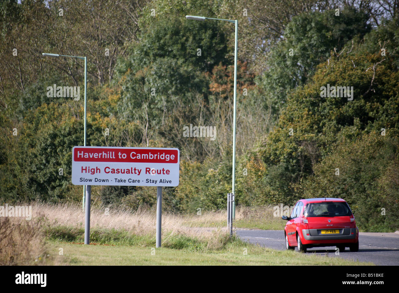 Sign warning motorists on the A1307 at Horseheath - an accident ...