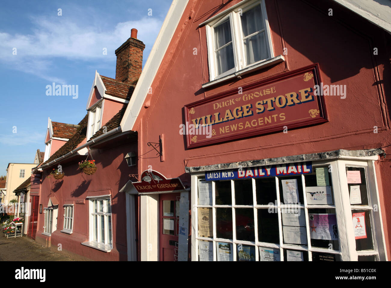 Duck or Grouse village shop at the village of Cavendish in Suffolk UK - Stock Image