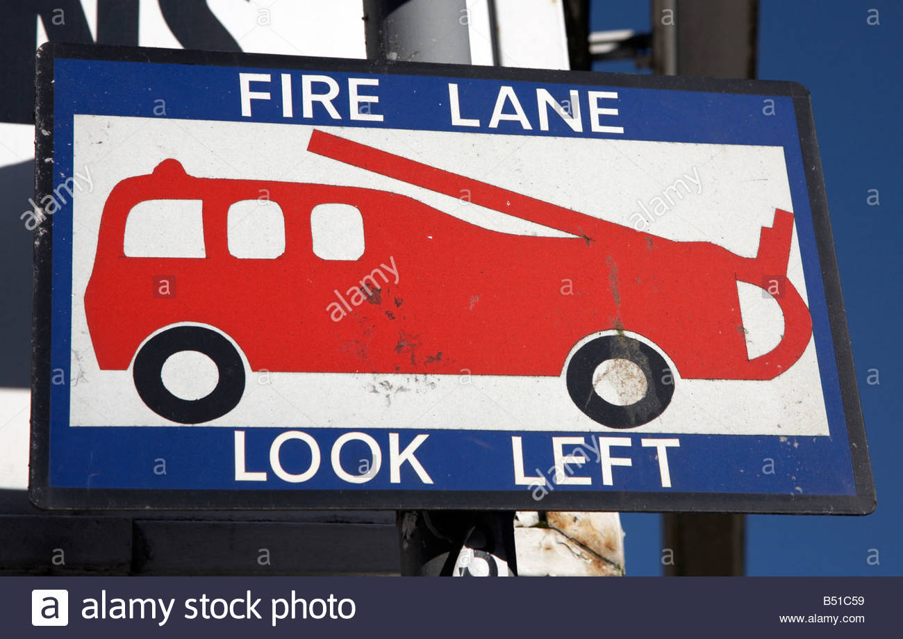 Fire Lane at Fire station - Stock Image