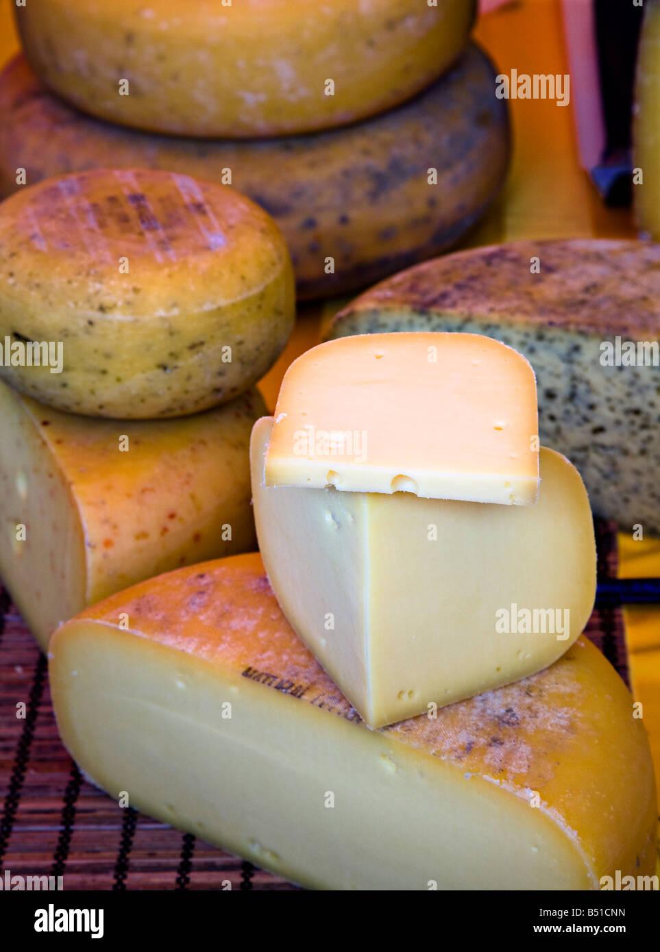 Teifi cheese on display at Abergavenny Food Festival Wales UK Stock Photo