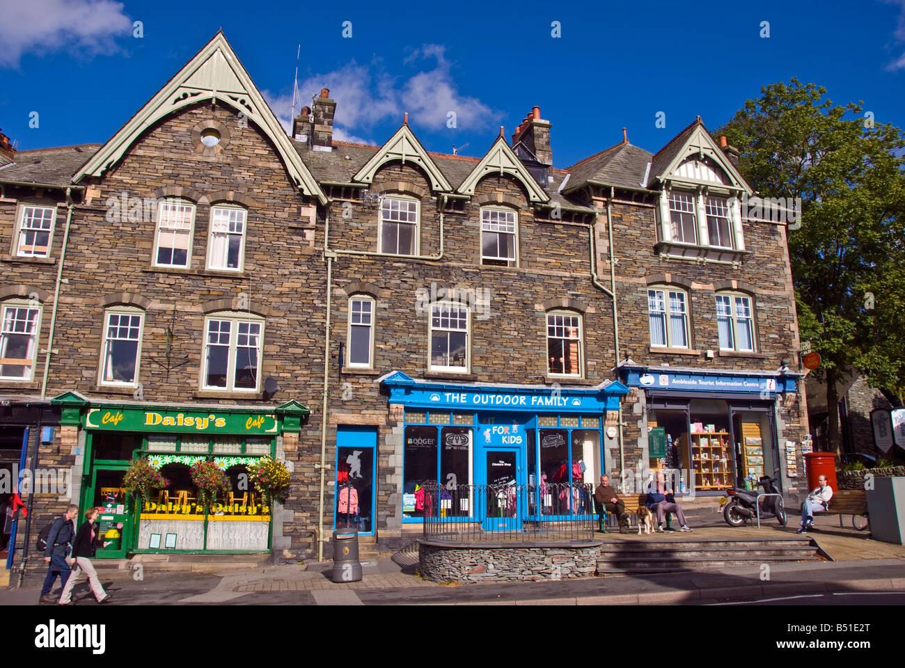 Lake District National Park UK ambleside town square shops fountain market place area - Stock Image