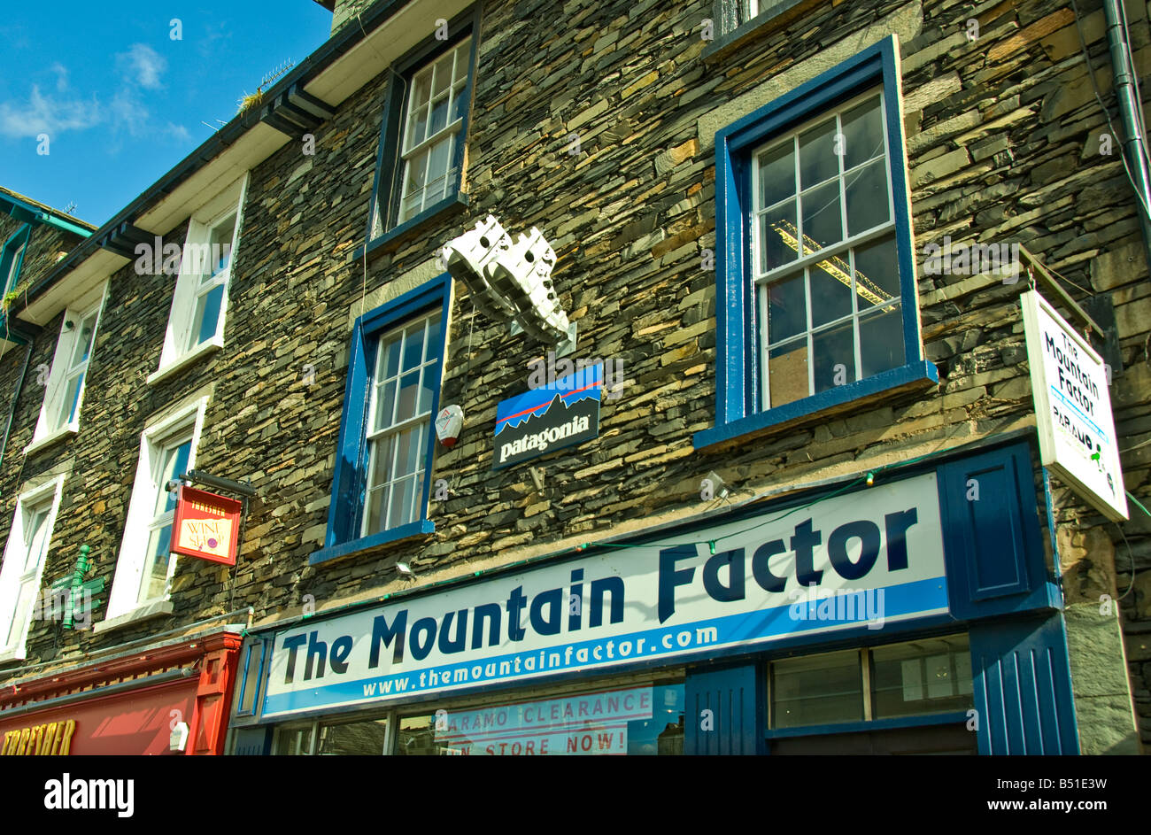 Lake District UK mountain climbing sign ambleside - Stock Image