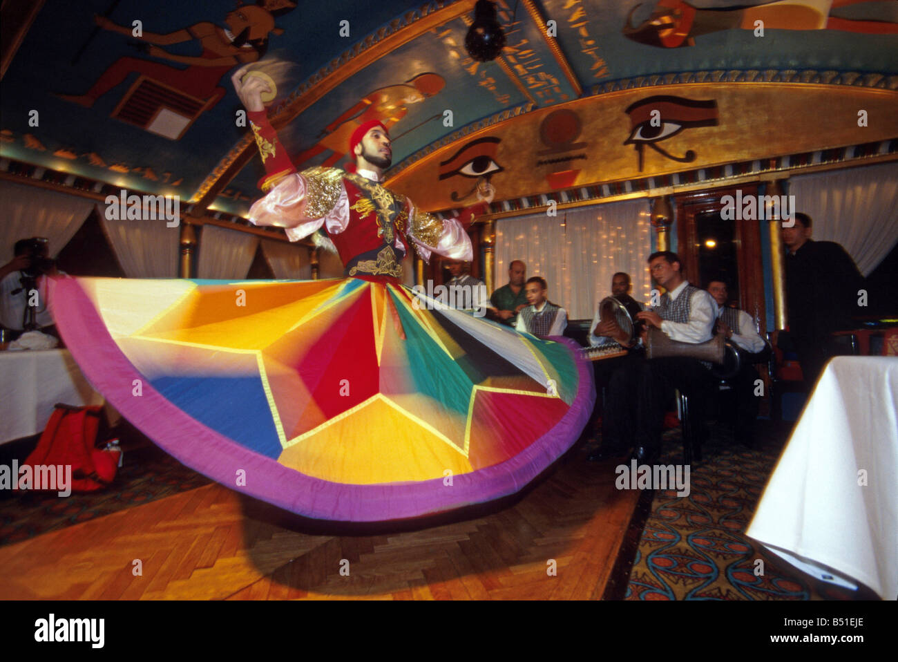Whirling Dervish on Nile River boat show, Cairo, Egypt - Stock Image